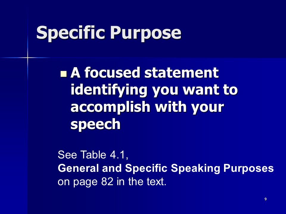 Specific Purpose A focused statement identifying you want to accomplish with your speech. See Table 4.1,