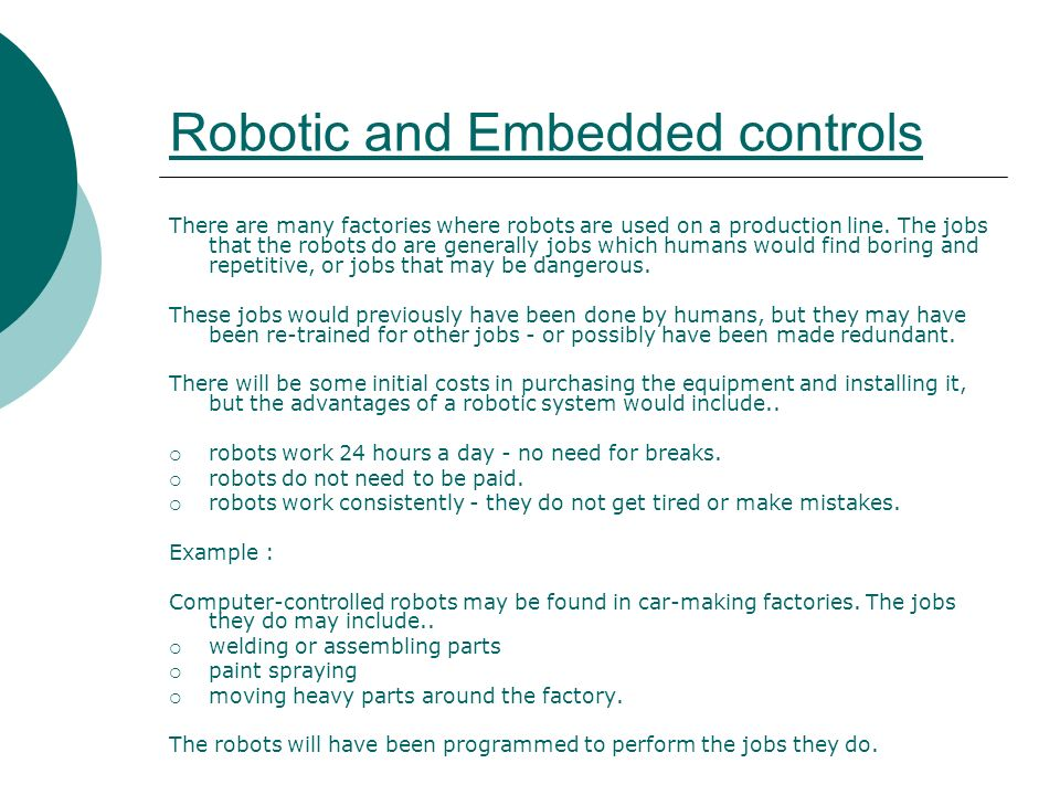Robotic and Embedded controls