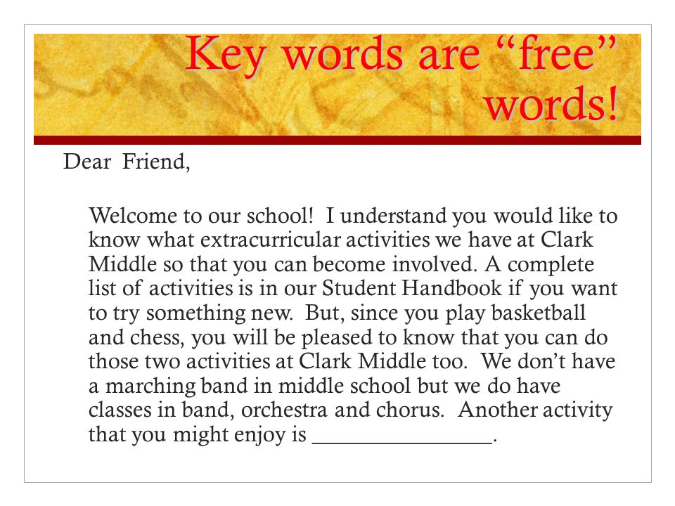 Key words are free words!
