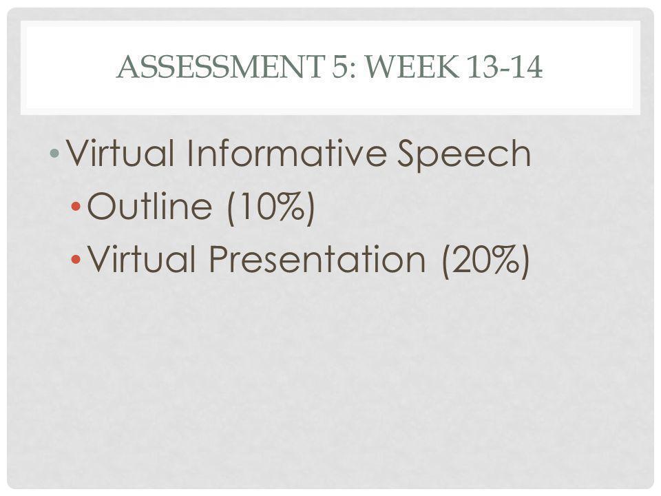 Virtual Informative Speech Outline (10%) Virtual Presentation (20%)