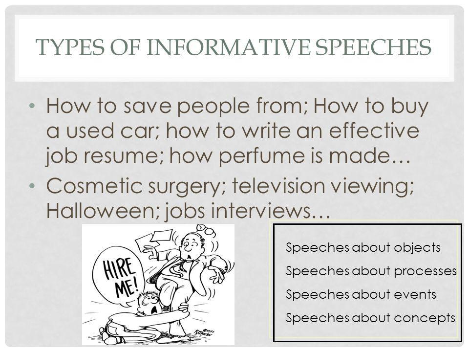 types of informative speeches A sample informative speech on caffeine and its beneficial and negative effects using topics that interest you will help make your public speaking presentation flow more smoothly.