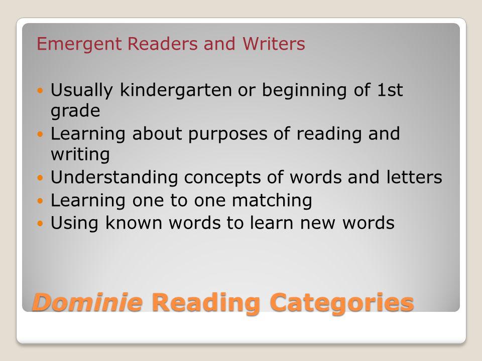 Dominie Reading Categories