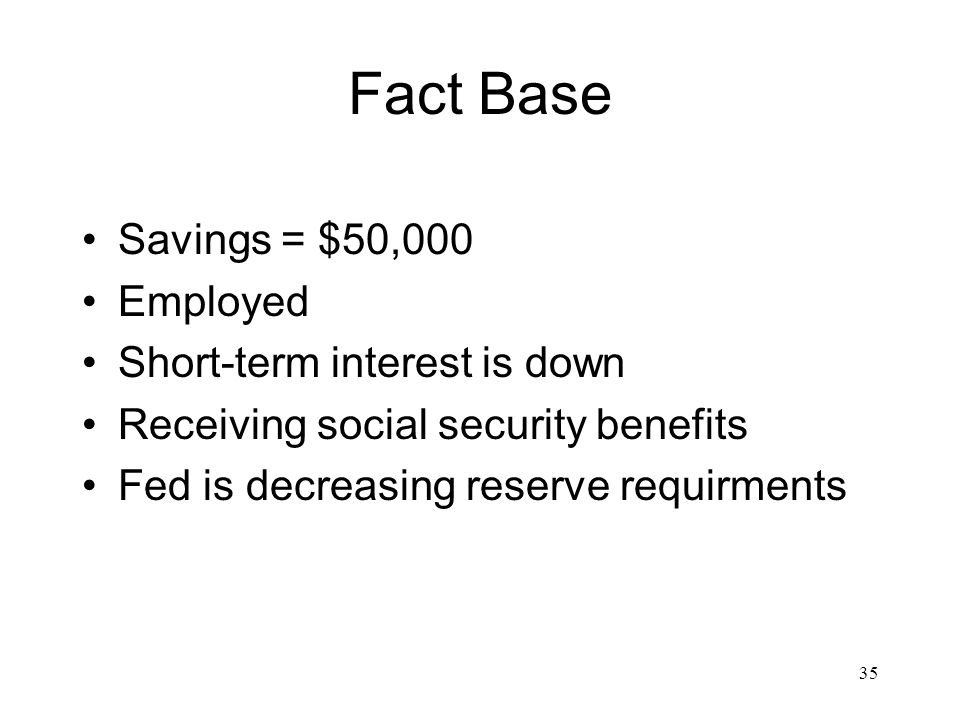 Fact Base Savings = $50,000 Employed Short-term interest is down