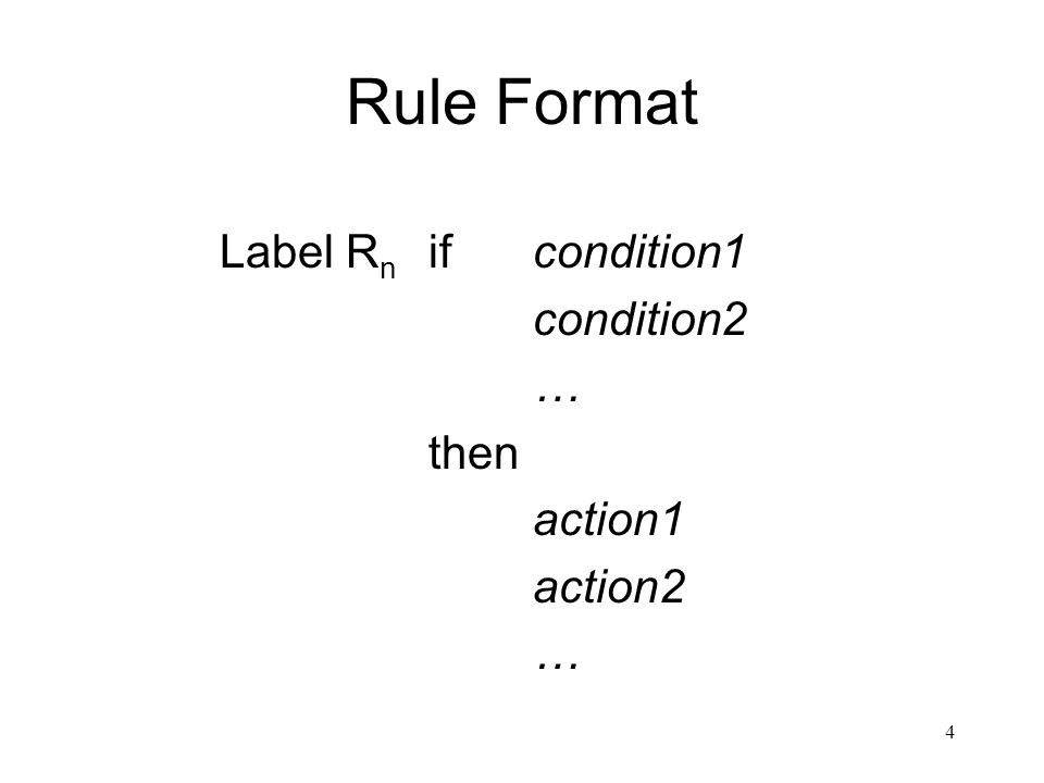 Rule Format Label Rn if condition1 condition2 … then action1 action2
