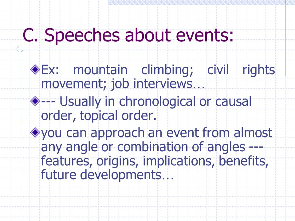 C. Speeches about events: