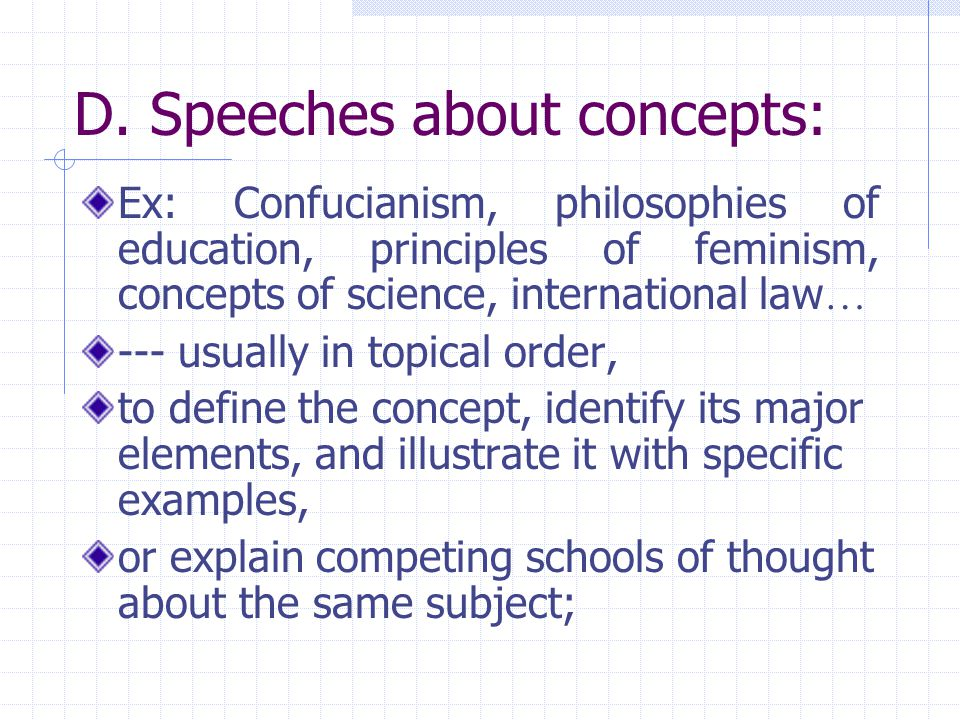 D. Speeches about concepts: