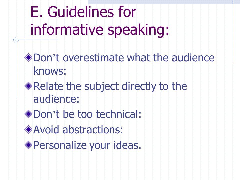 E. Guidelines for informative speaking: