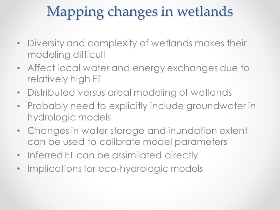 Mapping changes in wetlands
