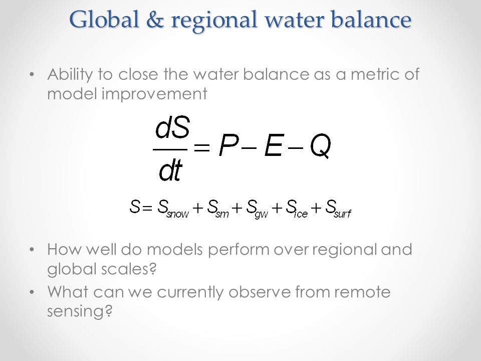 Global & regional water balance
