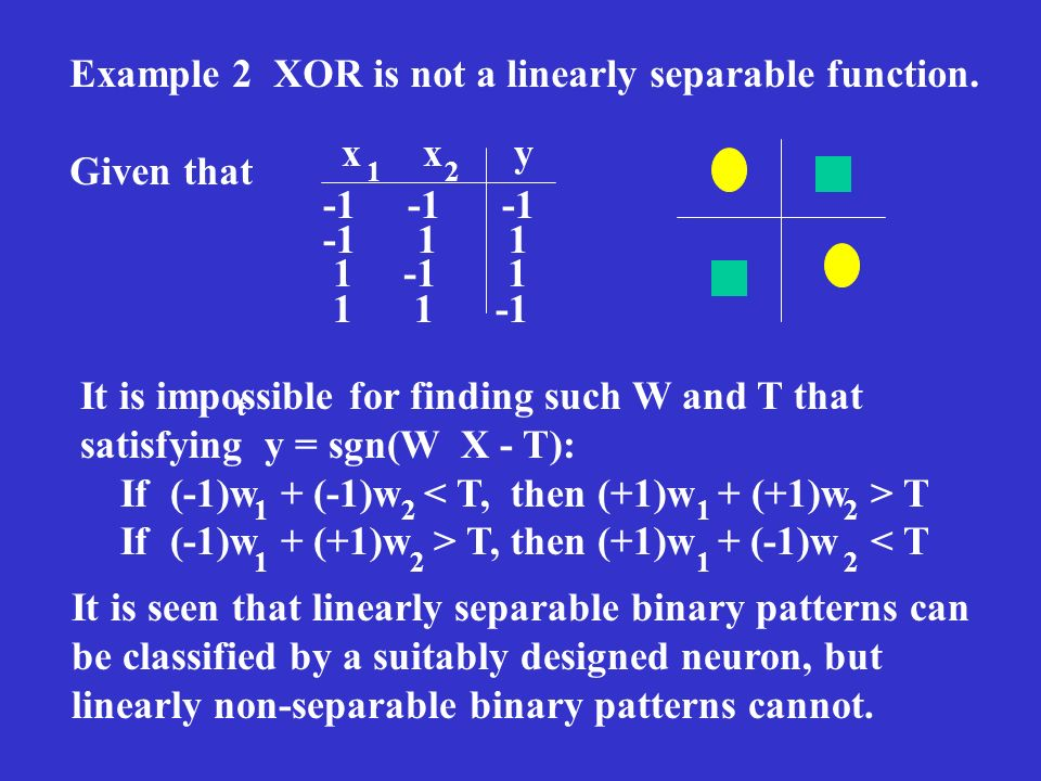 Example 2 XOR is not a linearly separable function. Given that x x y