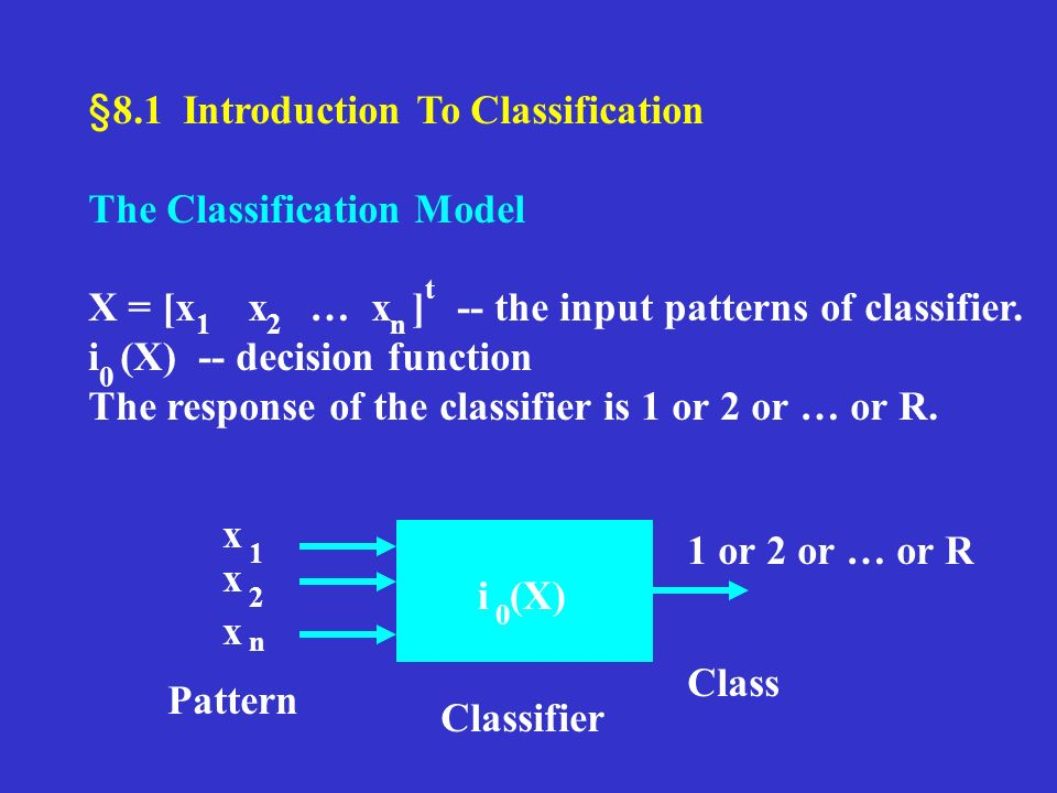 §8.1 Introduction To Classification The Classification Model