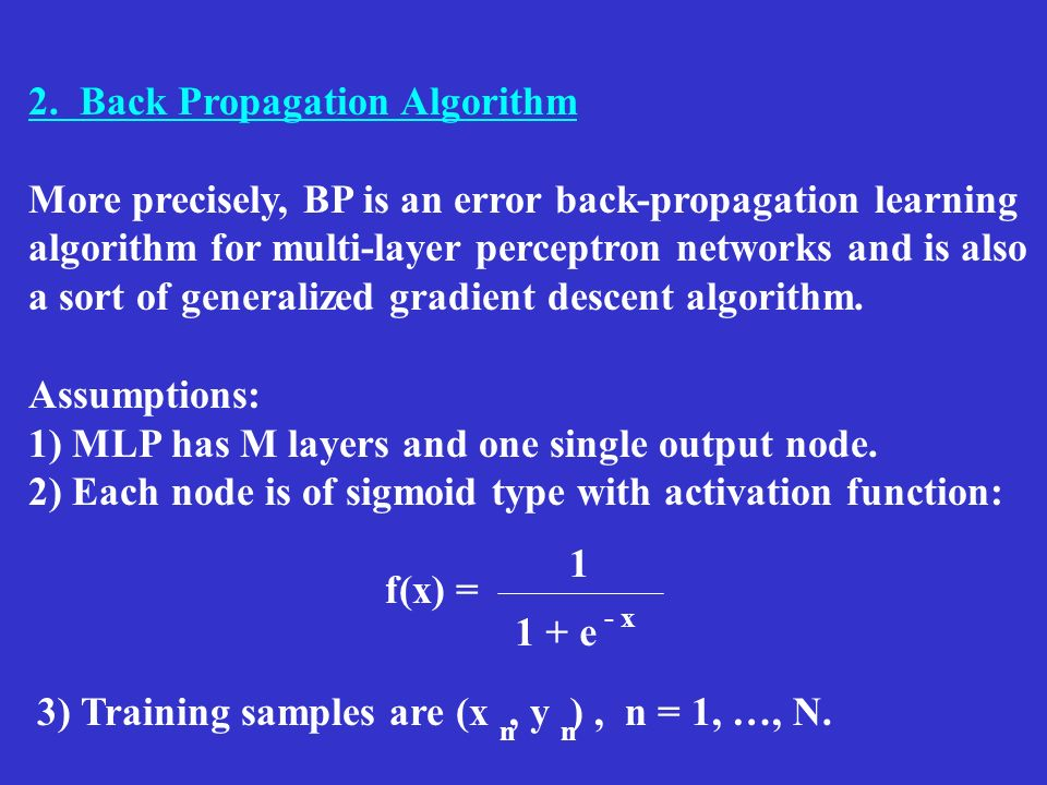 2. Back Propagation Algorithm