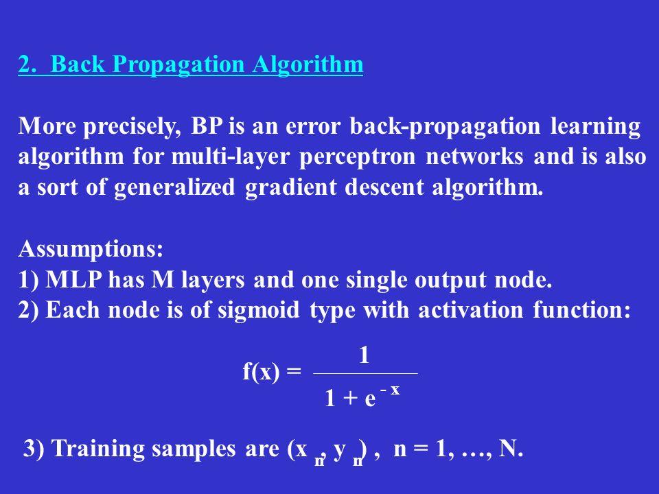 2. Back Propagation Algorithm