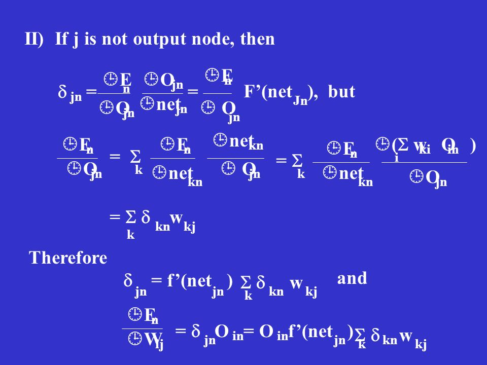 II) If j is not output node, then