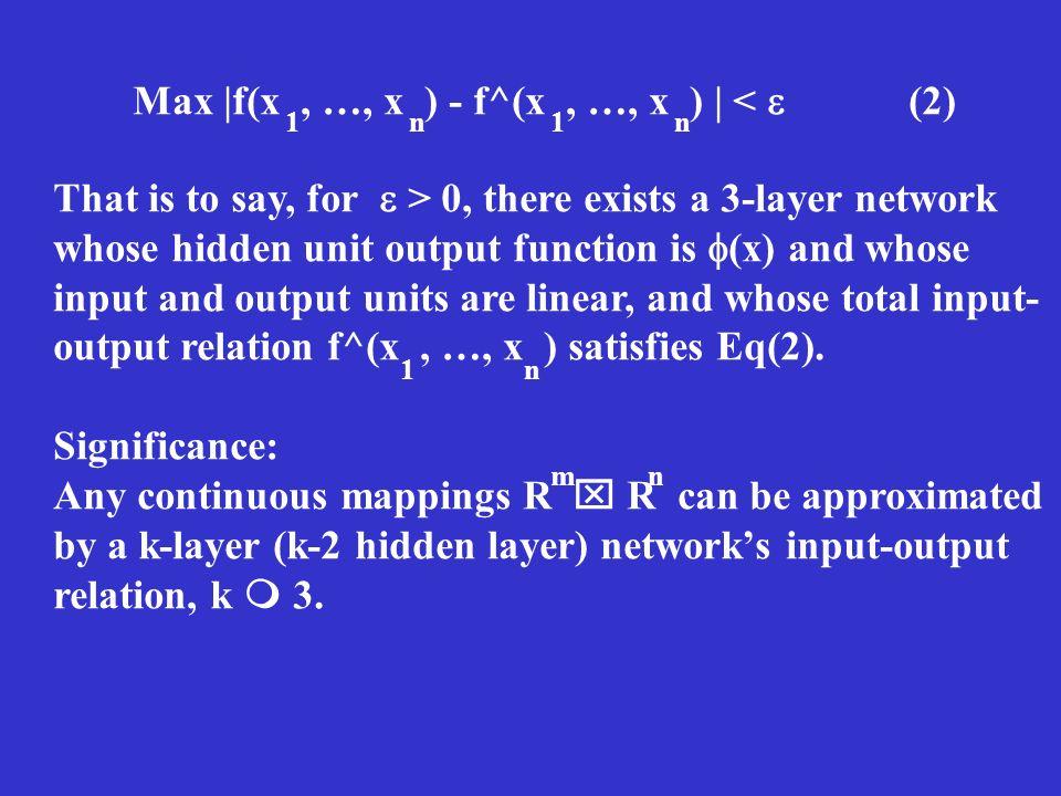 Max |f(x , …, x ) - f^(x , …, x ) | <  (2)