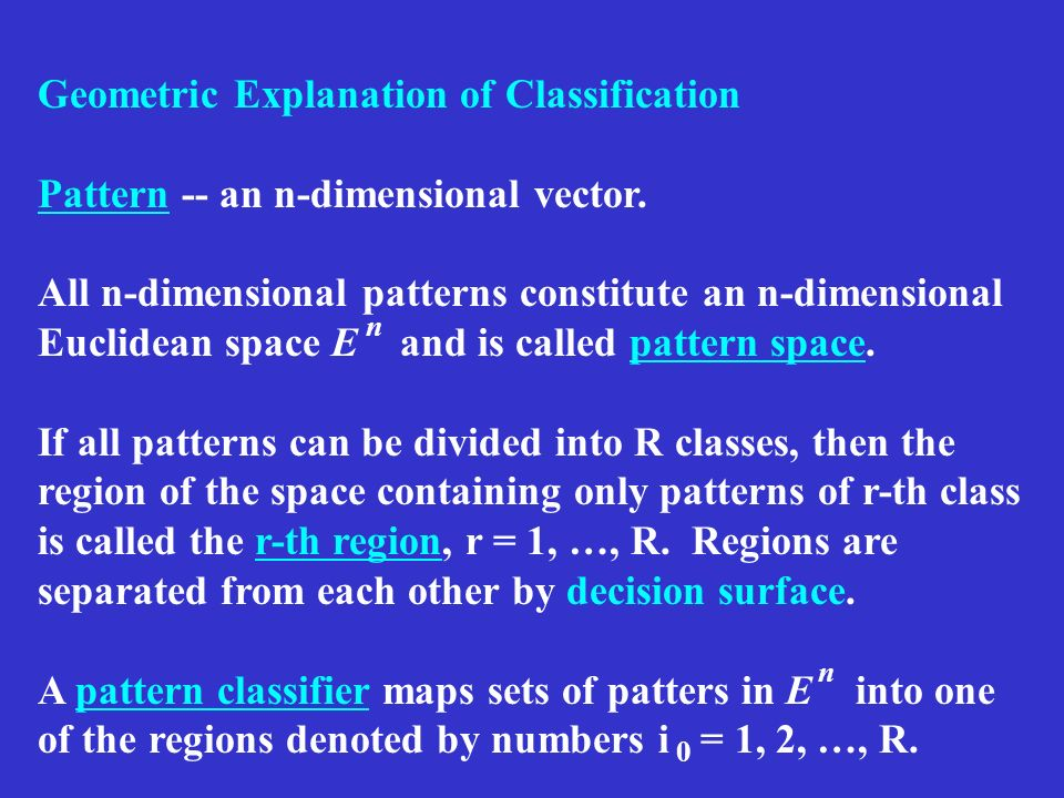 Geometric Explanation of Classification