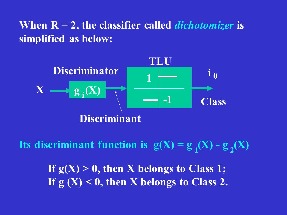 When R = 2, the classifier called dichotomizer is simplified as below: