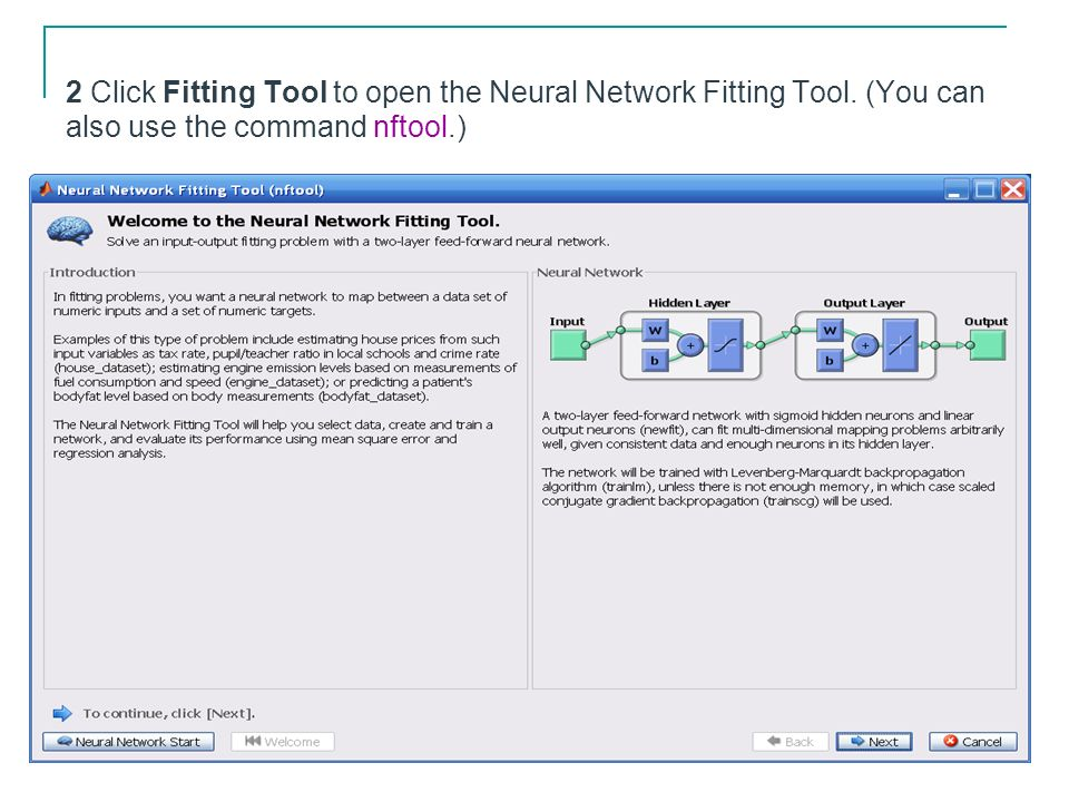 2 Click Fitting Tool to open the Neural Network Fitting Tool