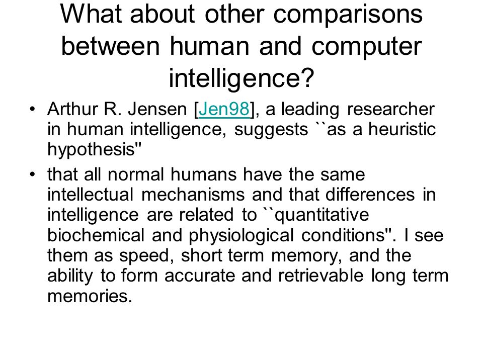 What about other comparisons between human and computer intelligence