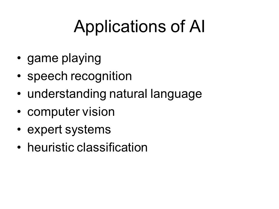 Applications of AI game playing speech recognition