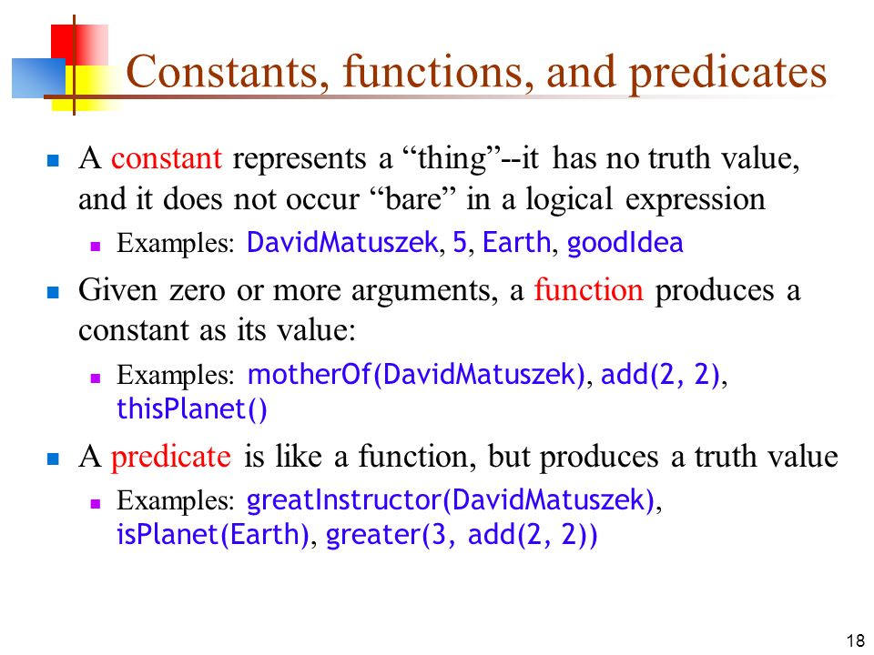 Constants, functions, and predicates