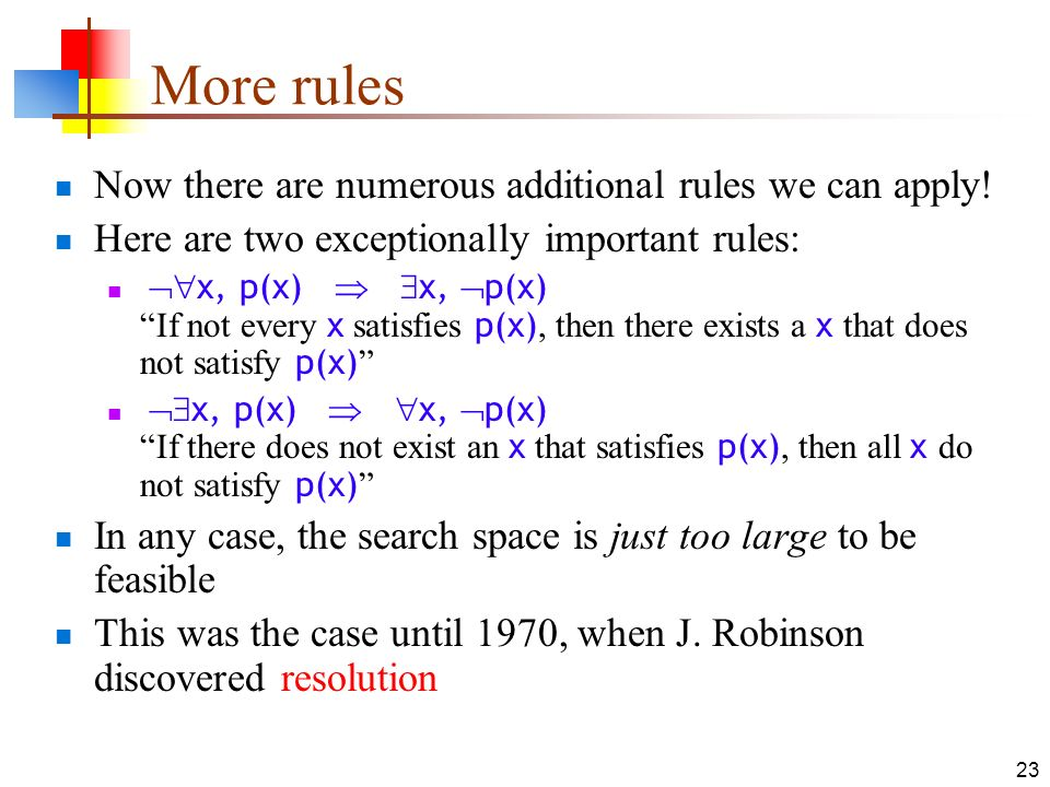 More rules Now there are numerous additional rules we can apply!