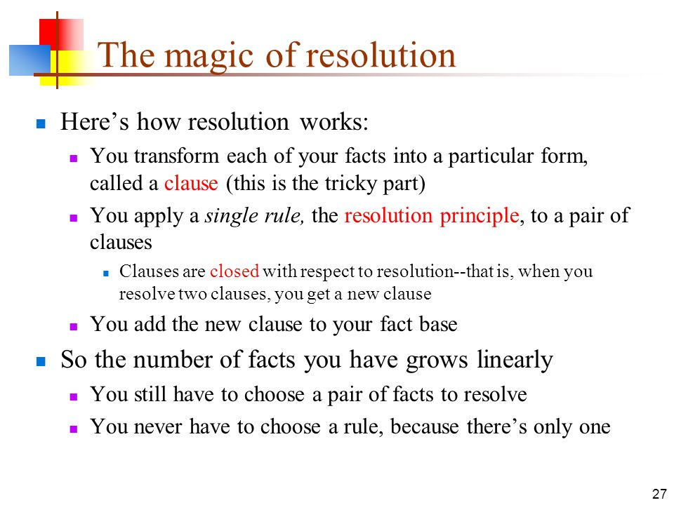 The magic of resolution
