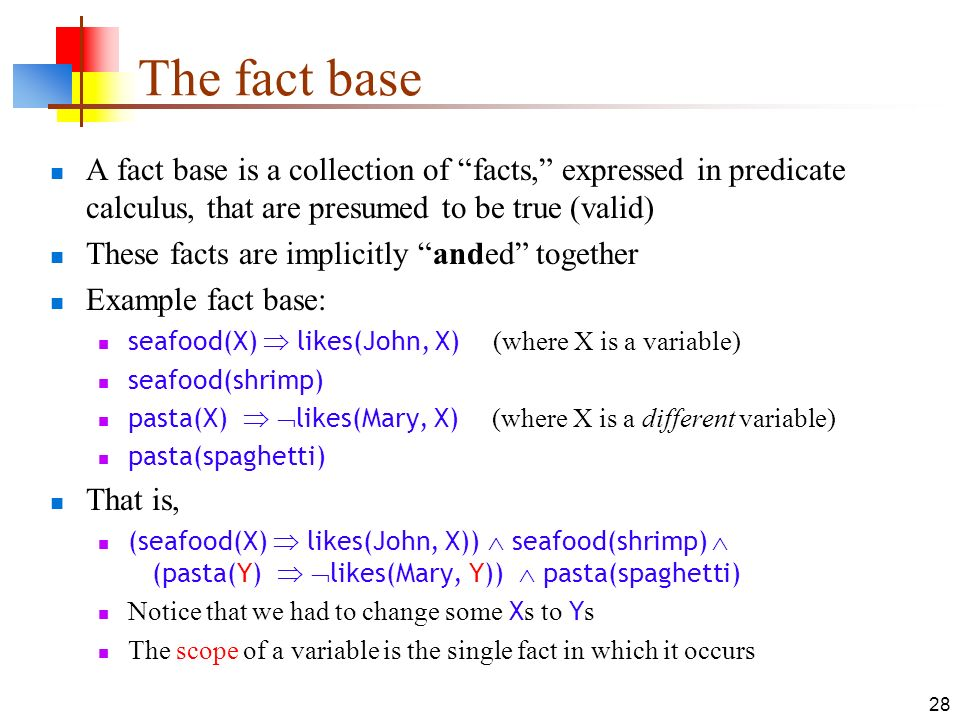 The fact base A fact base is a collection of facts, expressed in predicate calculus, that are presumed to be true (valid)