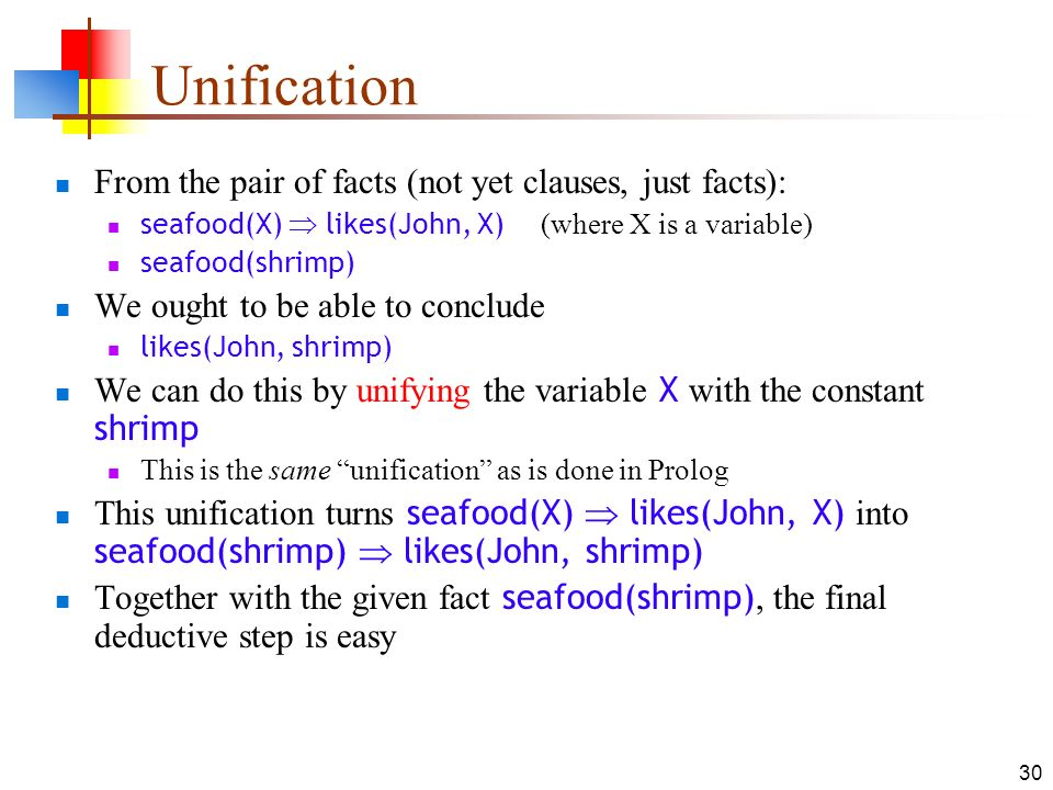 Unification From the pair of facts (not yet clauses, just facts):