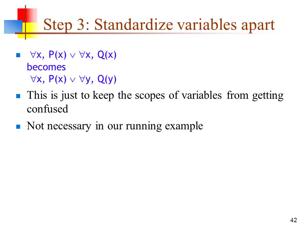 Step 3: Standardize variables apart