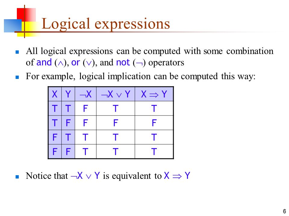 Logical expressions All logical expressions can be computed with some combination of and (), or (), and not () operators.