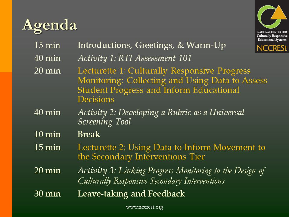 Agenda 15 min Introductions, Greetings, & Warm-Up