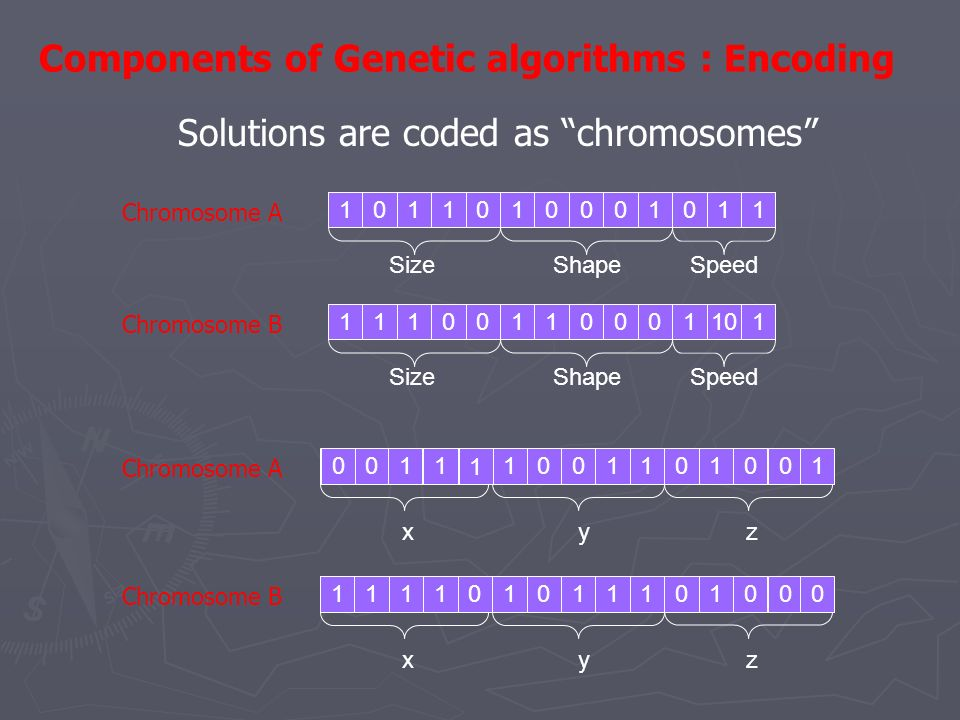 Components of Genetic algorithms : Encoding