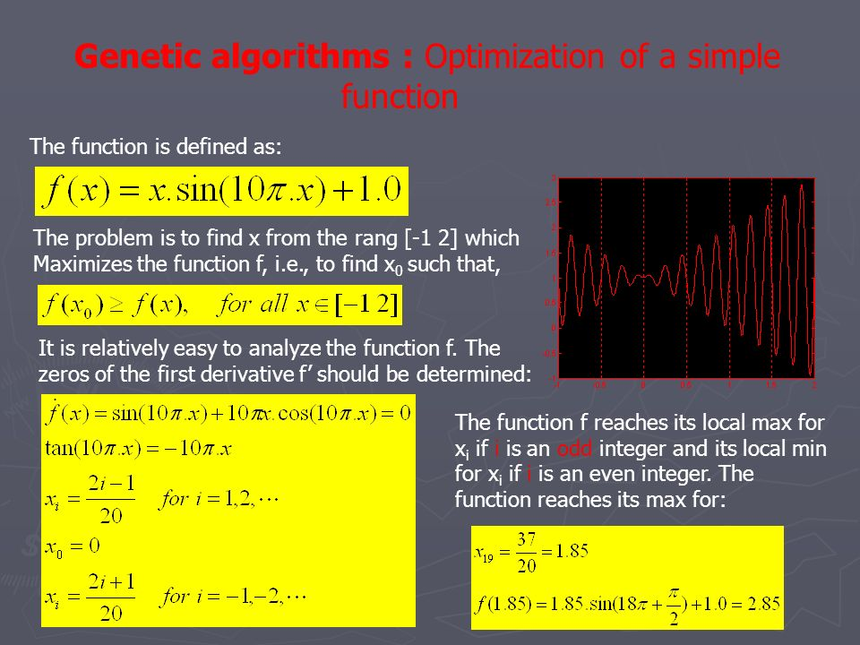 Genetic algorithms : Optimization of a simple function