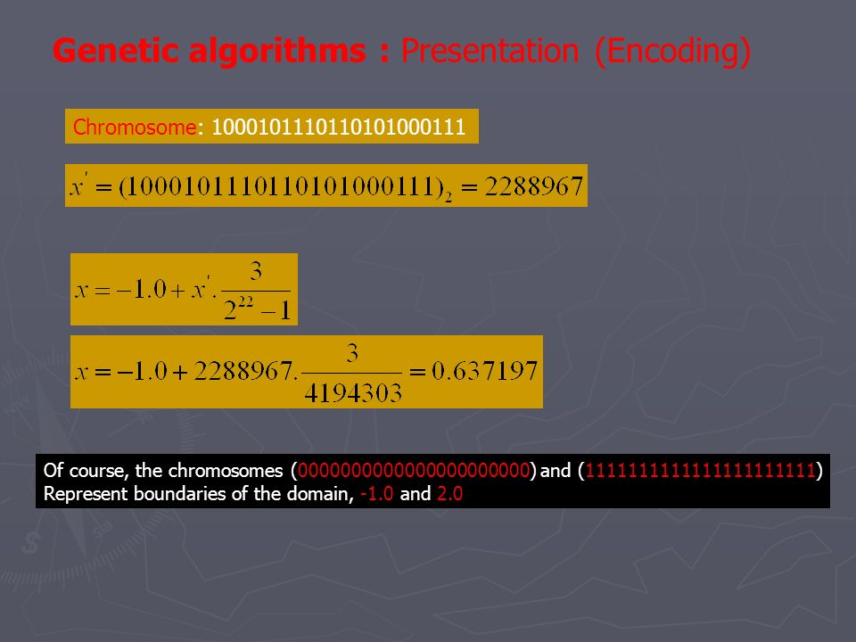 Genetic algorithms : Presentation (Encoding)