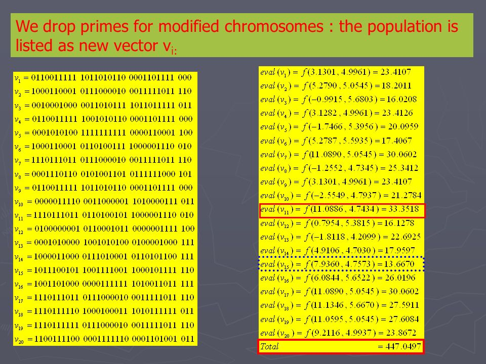 We drop primes for modified chromosomes : the population is listed as new vector vi: