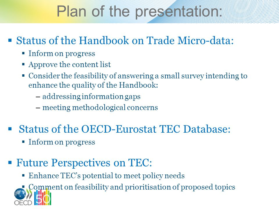 Plan of the presentation: