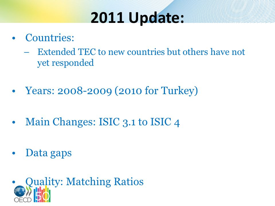 2011 Update: Countries: Years: 2008-2009 (2010 for Turkey)