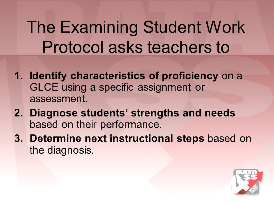 The Examining Student Work Protocol asks teachers to