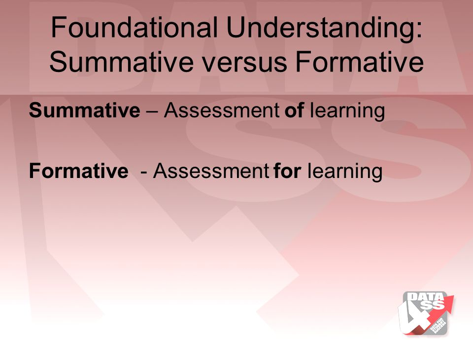 Foundational Understanding: Summative versus Formative