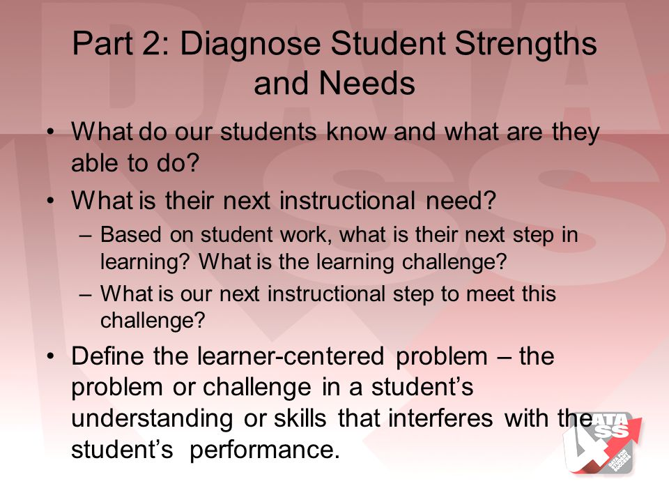 Part 2: Diagnose Student Strengths and Needs