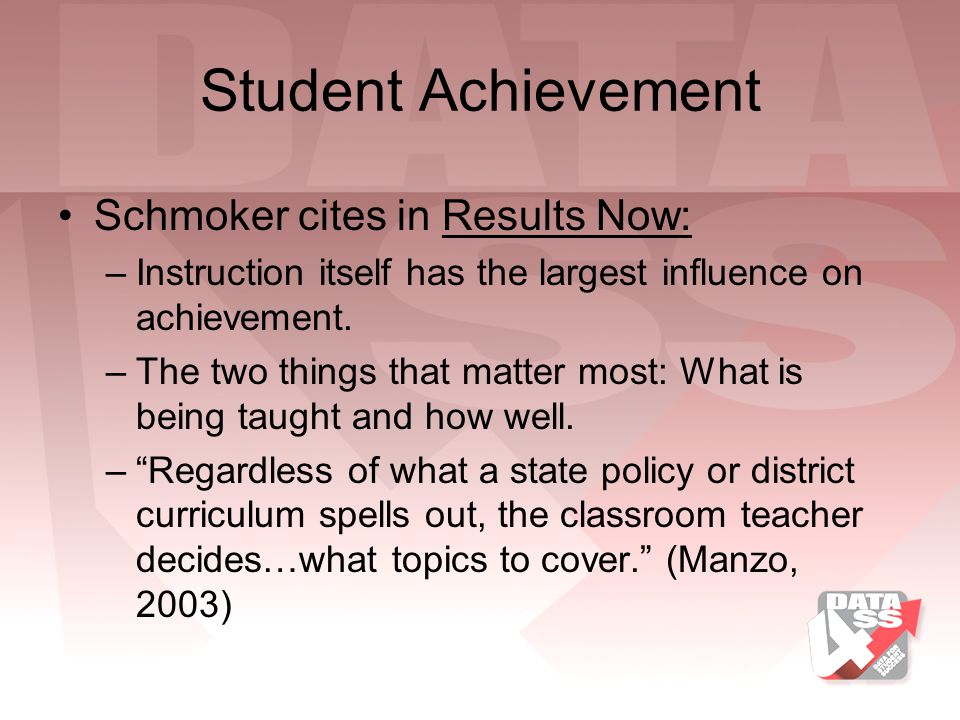 Student Achievement Schmoker cites in Results Now:
