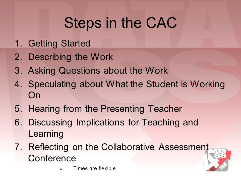 Steps in the CAC Getting Started Describing the Work