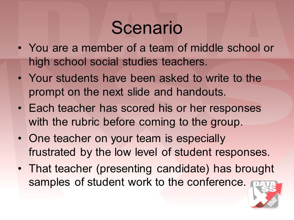Scenario You are a member of a team of middle school or high school social studies teachers.