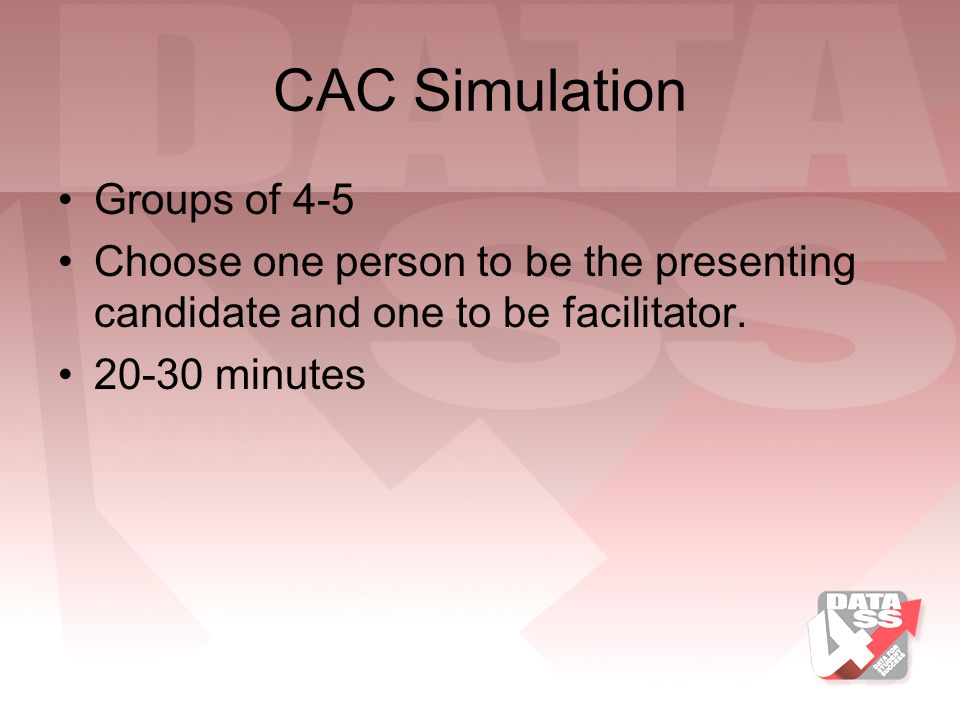 CAC Simulation Groups of 4-5