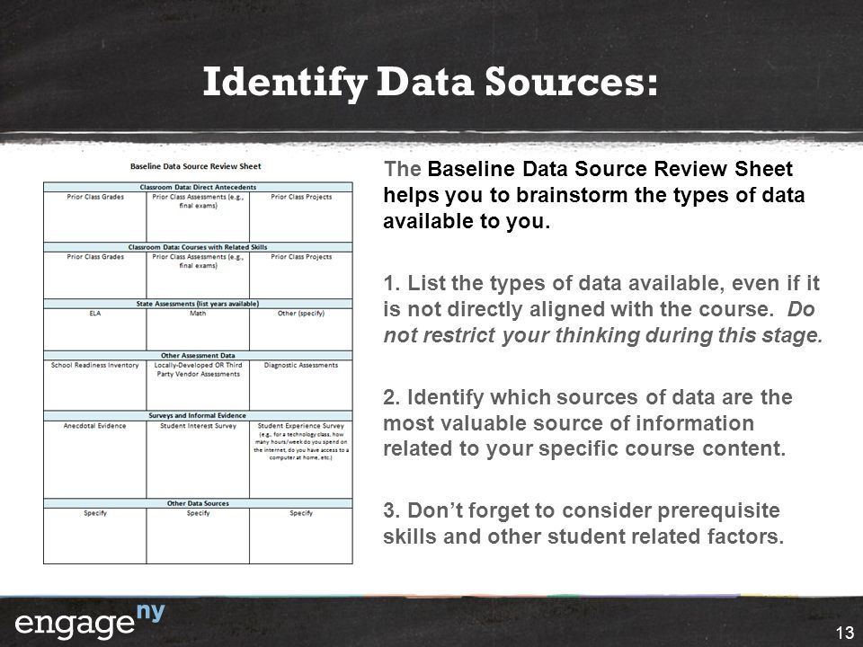 Identify Data Sources: