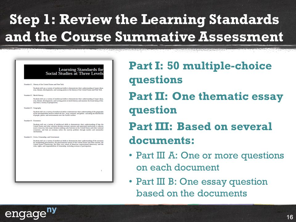 Step 1: Review the Learning Standards and the Course Summative Assessment