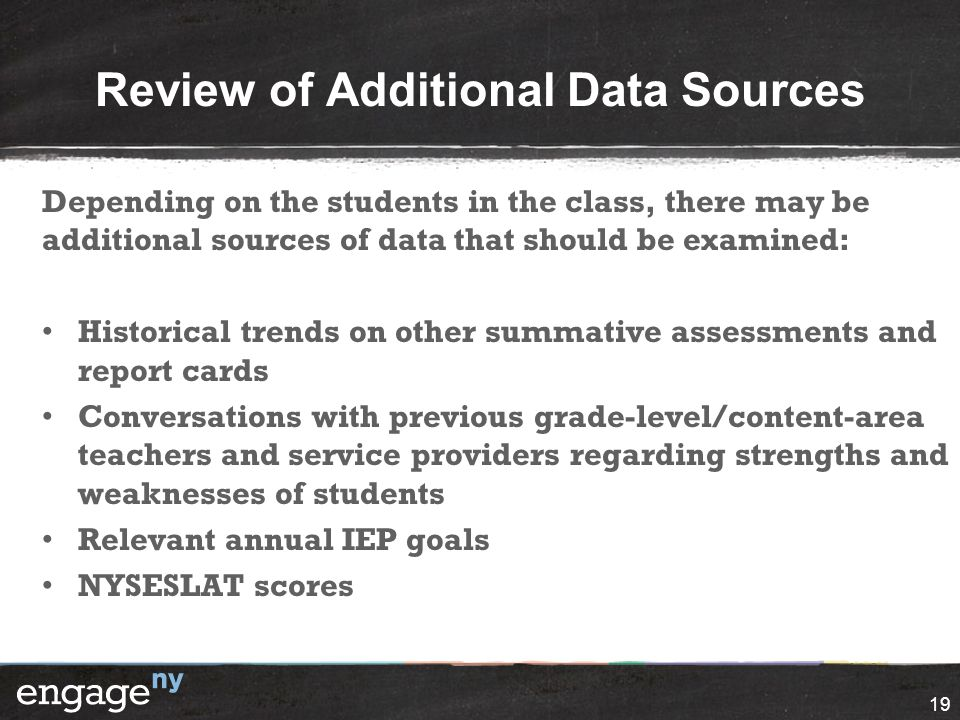 Review of Additional Data Sources