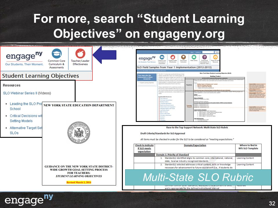For more, search Student Learning Objectives on engageny.org