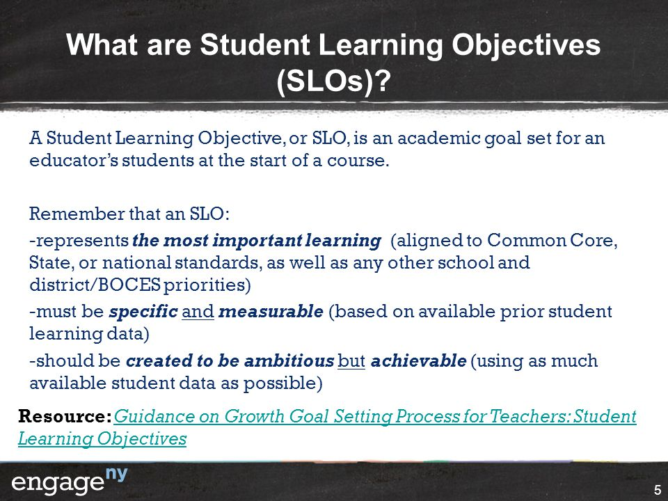 What are Student Learning Objectives (SLOs)